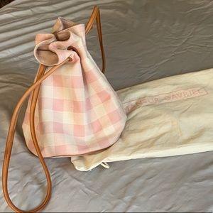 MANSUR GAVRIEL pink and white gingham bucket bag